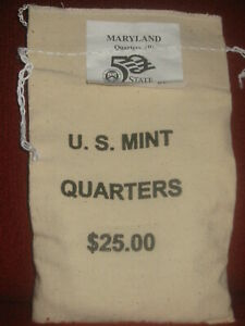 MARYLAND (MD-P) State Quarters US Mint Sewn UnOpened $25 Bag QC1 [100 coins]