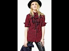 BNWT 100% auth Diesel Suzan Hemd Red Checked Unique Shirt with Logo XXS Rrp €150