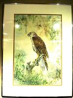 Vintage 1980's Original Watercolor Painting of an Eagle signed by Shaw-mei Shen