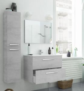 Mobile Bagno sospeso 80 cm 2 cassetti con LAVABO SPECCHIO COLONNA grigio cemento