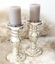 Kerzenhalter Kerzenständer Bauernsilber antik silber mit Gravur 26 cm