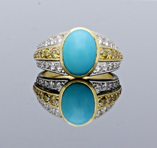 TURQUOISE WITH WHITE & YELLOW  DIAMONDS  RING