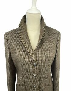 Lauren by Ralph Lauren Women Brown Wool Blend Houndstooth Lined Blazer 8 NWOT
