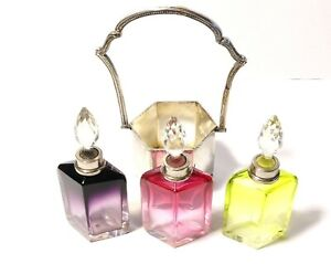 3 Moser Art Deco Silver Mounted Shaped Glass Scent Bottles in 800 Silver Basket
