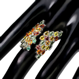 Marquise Sapphire Multi-Color Emerald 925 Sterling Silver Ring Size 8