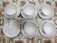 12 Piece Porcelain Amway Fine China Tea Cup & Saucer Set Gold Leaf Wheat 5748
