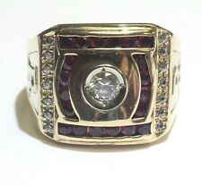 14k yellow gold mens Initial R ruby cubic zirconia cz ring 12.4g gents antique