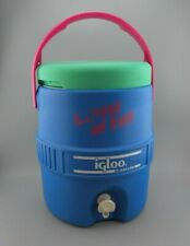 New listing Vtg Igloo Barrel Of Fun Water Jug Cooler Dispenser Two Gallon Blue Green Top Guc