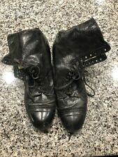Women's Victorian Ankle Boots Lace Up Leather Shoes Size 8