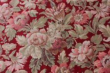 """French c1870 Antique Floral Roses Printed Cotton Fabric Yardage~2y34""""X 32""""W"""