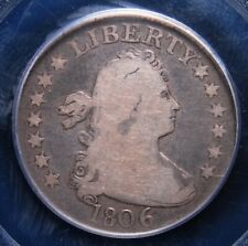 1806 DRAPED BUST QUARTER PCGS VERY GOOD 08 EVEN MEDIUM GREY WITH LIGHTER DEVICES