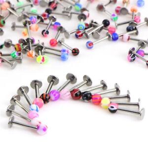 10/30/50 X 16G Ball Lip Rings Labret Bars Stainless Steel Stud Body PiercinY^lk
