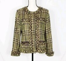 Chicos Size 0(S/4) Plaid Fringe Nubby Tweed Verte Sparkle Blazer Jacket Women's