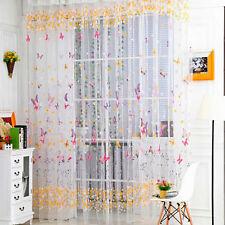 Klar Voile Vorhänge mit Schmetterling Muster Schlafzimmer Fenster Tür Gardine