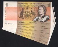 Australia R-71. (1966) One Dollar...Coombs/Wilson..  UNC - CONSECUTIVE Run of 5