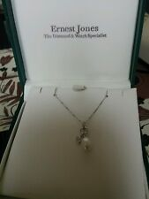 "9ct  heart shaped Diamond &Pearl Pendant & 18""Chain in White Gold"