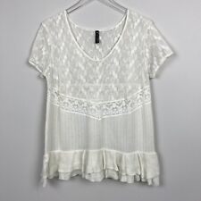 Free People Floral Embroidered Lace Knit Top Large L Ivory Ruffle Hem Boho Gypsy