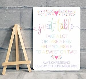 A5 Sweet Table Candy Cart Sign Wedding Birthday Party Christening - PERSONALISED