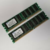 Set Of 2 Samsung M368L3223FUN-CCC DDR 256MB PC-3200 Non ECC 400Mhz RAM Memory