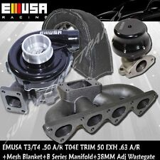 EMUSA Black T3T4 Turbo+38mmWastegate+Manifold+Mesh Blanket for 88-00 CivicB16B18