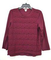 J Crew Womens Wine Scoop Neck Long Sleeve Crochet Floral Lace Top Blouse L