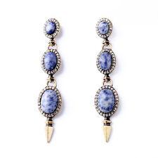 Orecchini`Orecchie A perno Dorato Lungo Sottile Pietra Blu Naturale Vintage