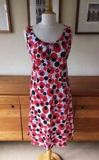Gorgeous Hobbs Long Spotted Sleeveless Linen Dress Red White Blue Black Sz8 VGC!