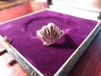 Schöner 925 Silber Ring Klein Modern Abstrakt Rillen Struktur Elegant Groß