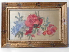 Tableau peinture nature morte fleur tissus soie signé Jane Nerik