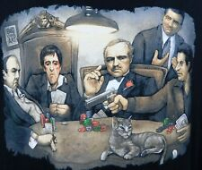 Gangsters Playing Poker Scarface Godfather Soprano T-shirt Large Black GDA