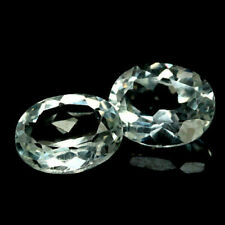 5.72Carats Oval PAIR Natural White Transparent TOPAZ for Jewelry Setting 8x10