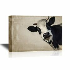 Wall26 - Canvas Wall Art - A Cow on Vintage Background - Ready to Hang - 12x18