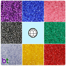 BeadTin Transparent 4mm Faceted Round Craft Beads (1250pcs) - Color choice
