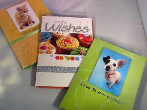 Greeting Cards Happy Birthday Dog Cat Wishes Set 3 Notecards Self Seal Bag New