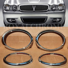 NEW 4X ROYAL PREMIUM CHROME HEAD LIGHT LAMP SURROUNDS for JAGUAR X TYPE 01-09