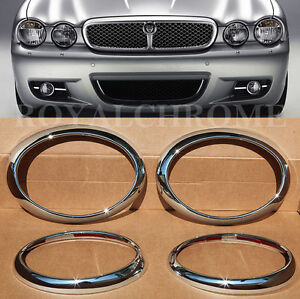 US STOCK Set of 4x for JAGUAR X TYPE PREMIUM CHROME HEAD LIGHT LAMP SURROUNDS