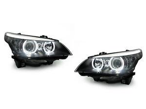 DEPO V3 LED U Ring White Angel Halo Headlight For 2004-10 BMW E60/E61 5 Series