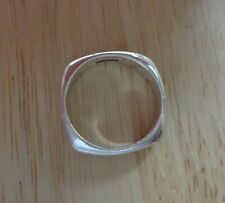 size 6 Sterling Silver Solid Squared Plain 4mm Wide Band Wedding Style Band