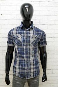 Camicia Uomo Armani Jeans Taglia S Camicetta Blu Manica Corta Maglia Shirt Man