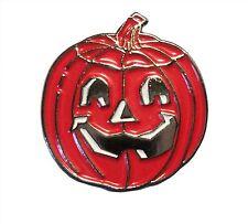Spooky Halloween Carved Pumpkin Metal Enamel Trick or Treat Badge