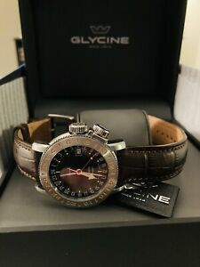 Glycine Airman 18 GMT GL0231 39mm Automatic, Black Dial, Leather Strap, 20ATM