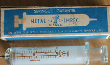 1 ancienne seringue ( metal impec) 20cm3 bté sgdg  medecine science
