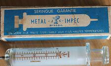 1 ancienne seringue ( metal impec) 20cm3 bté sgdg  medecine science