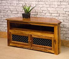 Solid Sheesham Wood Corner TV Stand Cabinet Unit 120cm Jali Doors - Unique grain