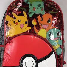 Pokemon Backpack Pikachu Backpack Book Bag Red White Pokeball Pocket School Kids