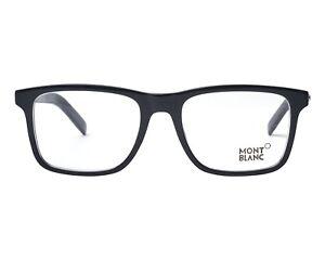 MONT BLANC MB0737 001 SHINY BLACK Plastic Eyeglasses Frame 53-18-145 MB737 Italy