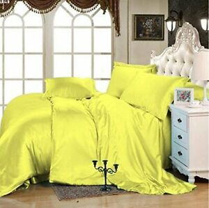 5 PC Duvet Set + Fitted Sheet 1000 TC Satin Silk All US Size & Solid Colors