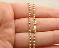 2.5mm All Shiny Ball Bead Link Chain Anklet Ankle Bracelet Real 10K Yellow Gold