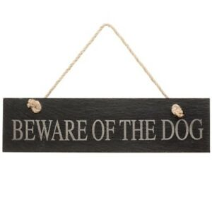 Large Slate Garden Plaque -Beware of the Dog- Looks cool,stylish and simple.