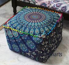 "18"" Mandala Ottoman Pouf Seat Cover Blue Indian Handmade Square Footstool Case"
